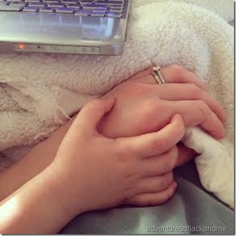 sick day holding hands
